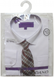 BOYS DRESSY SHIRT & TIE (LONG SLEEVE) WHT/CHARCOAL