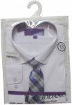 BOYS DRESSY SHIRT & TIE (LONG SLEEVE) WHT/NEW BLUE