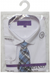 BOYS DRESSY SHIRT & TIE (LONG SLEEVE) WHT/BLUE