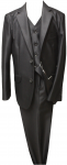 BOYS 3PC. TWO BOTTONS POLY/VISCOUS SUIT (BLACK/GRAY)
