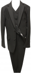 BOYS 3PC. TWO BOTTONS POLY/VISCOUS SUIT (BLACK)