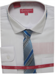 BOYS DRESSY SHIRT & TIE (LONG SLEEVE) WHT/TURQ
