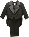BOYS CHRISTENING TUXEDO W/ TAIL & COMMAND BAND (BLACK)