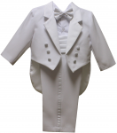BOYS CHRISTENING TUXEDO W/ TAIL & COMMAND BAND (WHITE)