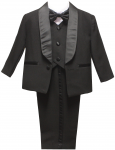 BOYS SINGLE TUXEDO BREASTED W/ SATIN VEST & BOW (BLACK)