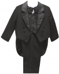 BOYS TUXEDO W/ BROCADED VEST & TAIL (BLACK)