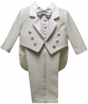 BOYS TUXEDO W/ BROCADED VEST & TAIL (WHITE)