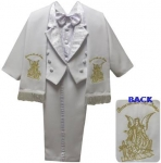 BOYS TUXEDO W/ BROCADED VEST & SCARF AND ANGEL ON THE BACK (WHT/GOLD)