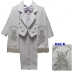 BOYS TUXEDO W/ BROCADED VEST & SCARF AND ANGEL ON THE BACK (WHT/SILVER)