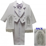 BOYS TUXEDO W/ BROCADED VEST & SCARF AND VIRGIN ON THE BACK (WHT/SILVER)