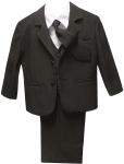 BOYS TUXEDO W/ SATIN VEST & LONG TIE (BLACK)