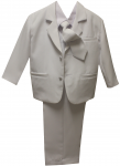 BOYS TUXEDO W/ SATIN VEST & LONG TIE (WHITE)