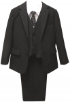 BOYS SUIT W/ LONG TIE ( BLACK)