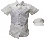 BOYS CHRISTENING SHORT PANTS W JAQUARD VEST & TIE