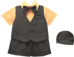 BOYS 5PC. SHORT VEST SET (BLK/ PUMPKIN)
