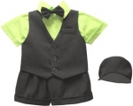 BOYS 5PC. SHORT VEST SET (BLK/ LIME)