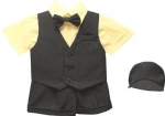 BOYS 5PC. SHORT VEST SET (BLK/BANANA)