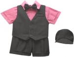 BOYS 5PC. SHORT VEST SET (BLK/FUSHIA)