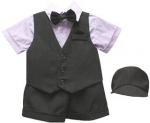 BOYS 5PC. SHORT VEST SET (BLK/ LILAC)
