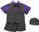 BOYS 5PC. SHORT VEST SET (BLK/ PURPLE)
