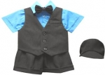 BOYS 5PC. SHORT VEST SET (BLK/TURQ)