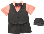 BOYS 5PC. SHORT VEST SET (BLK/ MELON)