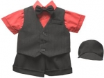 BOYS 5PC. SHORT VEST SET (BLK/RED)