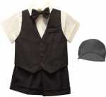 BOYS 5PC. SHORT VEST SET (DRK. BROWN/ IVORY)