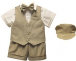 BOYS 5PC. SHORT VEST SET (TAUPE/IVORY)