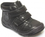 Boys double velcrow high top casual boots (BLACK)