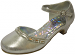 GIRLS DRESSY SHOES W/ RHINESTONES (SILVER SATIN)