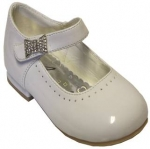 Dress Shoe w/ Single Perforated Line & Rhinestone Bow on Velcro Buckle