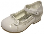 DRESS SHOES W/ DOUBLE LINE RHINESTONE FLOWER ON SIDE & BELT BUCKLE (WHTPAT)