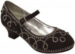 GIRLS DRESSY SHOES W/ RHINESTONES (BLACK)