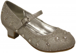 GIRLS DRESSY SHOES W/ RHINESTONES (SILVER)