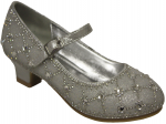 GIRLS DRESSY SHOES & RHINESTONES (SILVER)