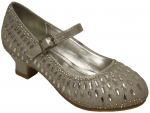 GIRLS DRESSY SHOES WITH RHINESTONES (SILVER)