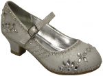 GIRLS DRESSY SHOES WITH FLOWER RHINESTONES (WHITE)