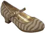 GIRLS DRESSY SHOES WITH RHINESTONES AROUND (GOLD)