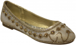 GIRLS FLAT SHOES W/ RHINESTONES AROUND (GOLD)