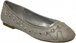 GIRLS FLAT SHOES W/ RHINESTONES AROUND (SILVER)