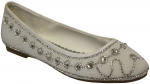 LADIES FLAT SHOES W/RHINESTONES AROUND (WHITE)