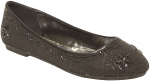 LADIES FLAT SHOES & RHINESTONES (BLACK)