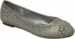 GIRLS FLAT SHOES & RHINESTONES (SILVER)