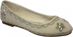 GIRLS FLAT SHOES & RHINESTONES (WHITE)