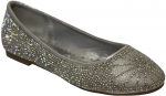 GIRLS FLAT SHOES WITH RHINESTONES (SILVER)