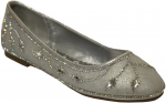 GIRLS FLAT SHOES W/ RHINESTONES DESIGN (SILVER)