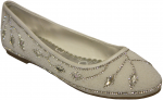 LADIES FLAT SHOES W/ RHINESTONES DESIGN (WHITE)