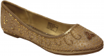 GIRLS FLAT SHOES W/ RHINESTONES DESIGN (GOLD)