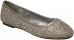 GIRLS FLAT SHOES W/ RHINESTONES DESIGNS (SILVER)